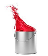 Red Paint Splashing From Silve...