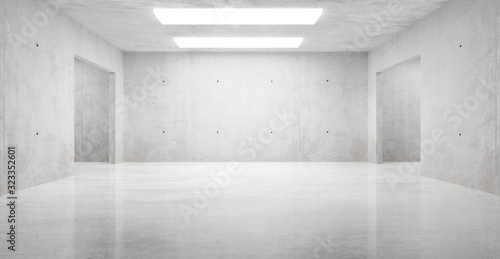 Fototapeta Abstract empty, modern concrete room with ceiling lights and shiny floor - industrial interior background template, 3D illustration obraz