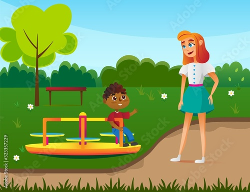 Small Boy with Babusitter Characters on Playground Flat Cartoon Vector Illustration Canvas Print