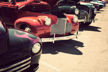 Old Cars Parked In A Row Street Display