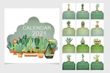 Calendar 2021.Cute Calendar And Cactus Plants.Vector Illustration.