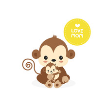 Mom And Baby Monkey.