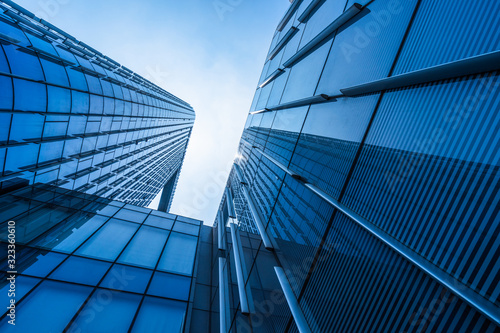 low angle view of skyscrapers in city of China. Wallpaper Mural