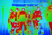 Coronavirus Thermal Test, People Group Infected By Covid19 Influenza Infection Under Thermal Imaging Camera Aka Thermal Unit, Airport Passenger Crowd Healthcare Diversity
