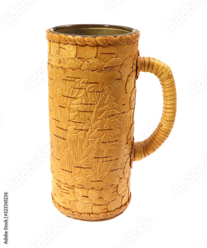 A birchen mug isolated on white background. Canvas Print