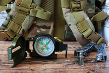 Compass And Backpack, Camping ...