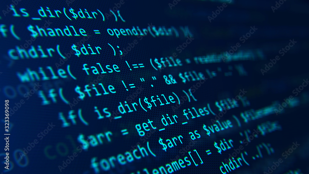 Fototapeta Code, HTML, php web programming source code. Abstract code background - 3d rendering