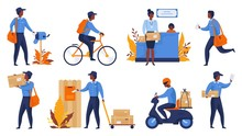 Postman. Cartoon Delivery Worker Character Shipping Parcels, Walking With Mail And Riding. Vector Express Delivery And Shipping Scenes, Mailing Package Art Person In Uniform