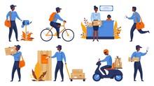 Postman. Cartoon Delivery Work...
