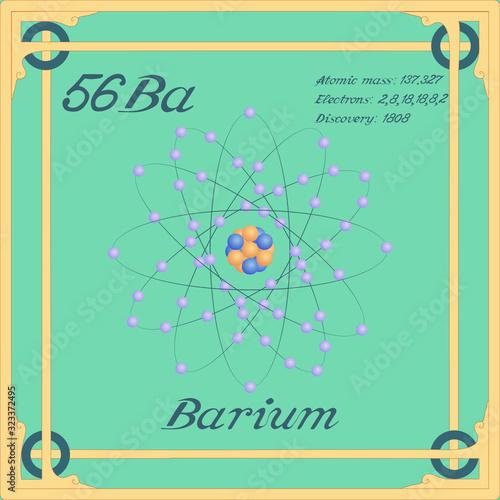 Periodic table element. Barium colorful icon. Vector. Wallpaper Mural