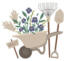Vector Illustration Of Colorful Garden Wheel Barrow With Violet Flowers, Rakes, Spade, Gloves. Cartoon Style Spring Or Summer Picture Isolated On White Background. Gardening Themed Concept..