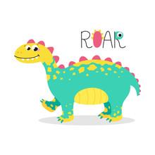 Vector Image Of A Dinosaur Walking And Smiling.