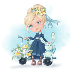 Cute cartoon girl with a rabbit friends, with spring flowers