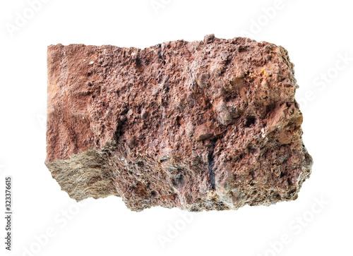 Photo rough bauxite ore cutout on white