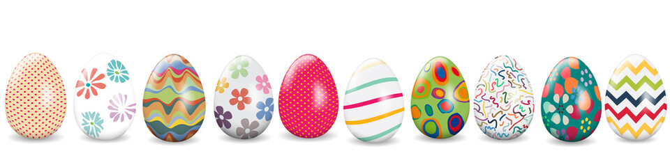 Easter banner, background with eggs in various designs, vector illustration
