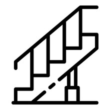 Reconstruction Stairs Icon. Outline Reconstruction Stairs Vector Icon For Web Design Isolated On White Background