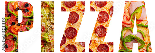 Wallpaper Mural Word pizza with texture pattern of different pizzas for each letter