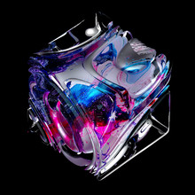 3d Render Of Abstract Art 3d Cube In Organic Curve Round Wavy Smooth And Soft Bio Forms In Transparent Glass Material With Metal Parts With Scratches Painted In Acrylic Blue And Pink Color On Black