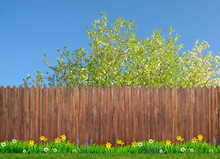 Spring Flowers And Wooden Garden Fence