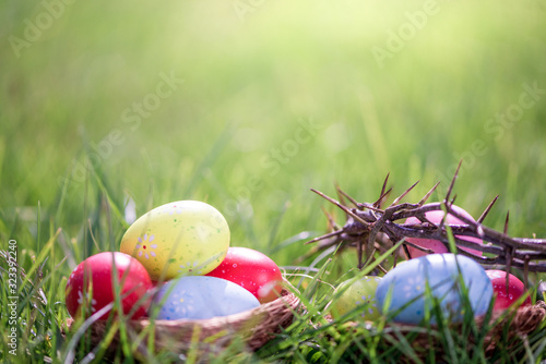 Obraz na plátne easter eggs in grass background with crown of thorns