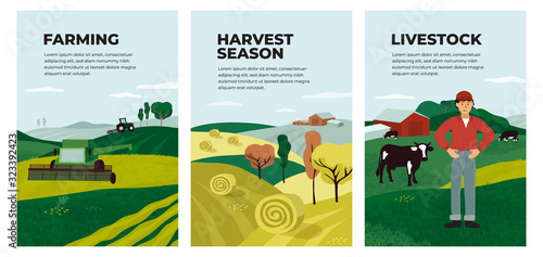 Set of posters with farming, livestock, harvest season Wallpaper Mural