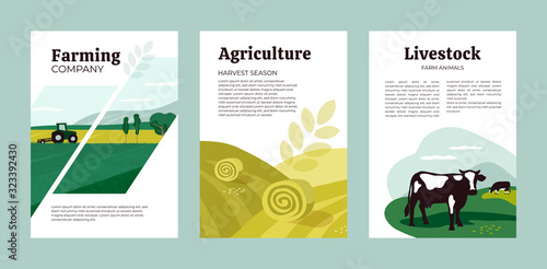 Set of posters with agriculture, farming and livestock Canvas Print