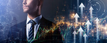 Caucasian Business Man Standing Formal Shirt Standing Business Organization Startup Concept Double Exposure Digital Stock Market Chart And Arrow Direction Growth With Dountown Building City Night Time