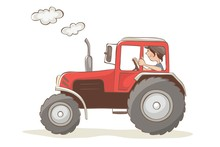 Cheerful Tractor Driver. Vecto...