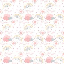 Seamless Pattern Rainbow, Clou...