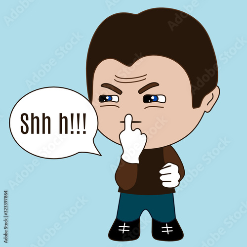 Платно emoticon chibi with character with frowned face that is keeping finger on mouth