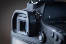 Close-up Macro Shot Of Viewfinder Of The Modern Digital SLR Camera. Ring Of  Diopter Adjustment.