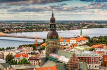 Aerial View On Old Riga City A...