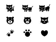 猫、熊、豚の可愛いアイコンセット