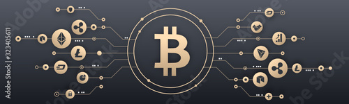 Foto Bitcoin and crypto currency illustration, Blockchain, cryptomonnaie