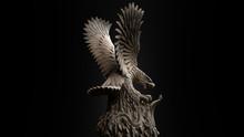 3D Composite Illustration Of Eagle Fighting A Snake. Sculpture. 3D Rendering. Art