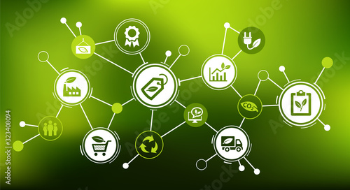 Foto Sustainable business or green business vector illustration