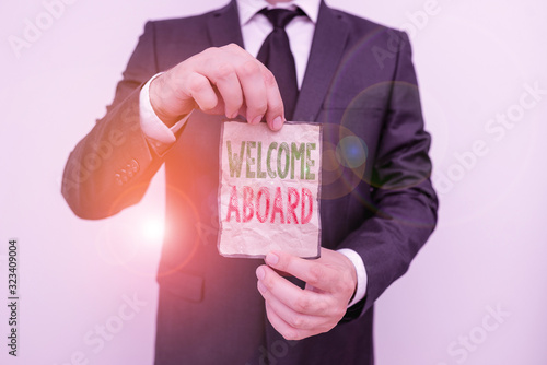 Photo Handwriting text Welcome Aboard