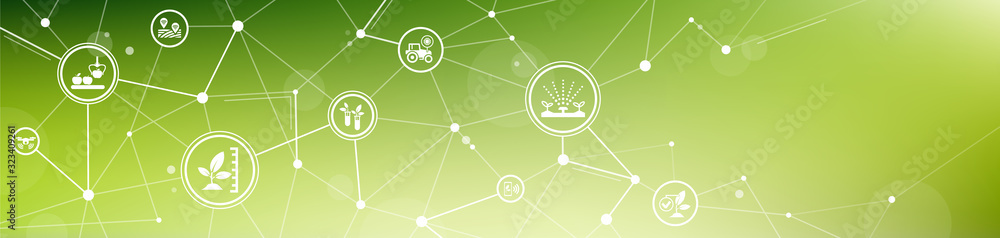 Fototapeta smart farm or agritech vector illustration. Banner with connected icons related to smart agriculture technology, digital iot farming methods and farm automation.