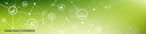 Obraz smart farm or agritech vector illustration. Banner with connected icons related to smart agriculture technology, digital iot farming methods and farm automation. - fototapety do salonu