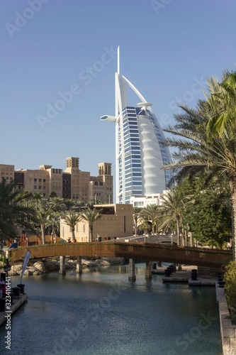 Madinat Jumeirah souq district with Burj Al Arab in the background Wallpaper Mural