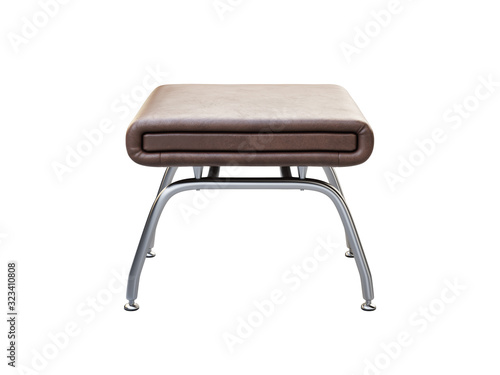 Stampa su Tela Mid-century brown leather ottoman with chromium legs. 3d render.