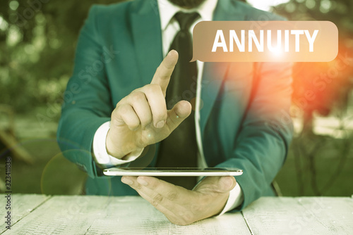 Writing note showing Annuity Canvas Print