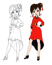 Teenage Girl Wearing Chinese Traditional Costume. Contour Picture For Coloring Book Or Paper Doll. Hand Drawn Vector Illustration. Lunar New Year.