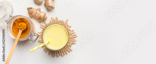 Healthy ingredients for making turmeric milk drink Canvas Print