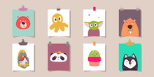 Set Of Cute Animals On Paper S...