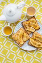 Toast With Peanut Butter And Fried Banana, Delicious Breakfast