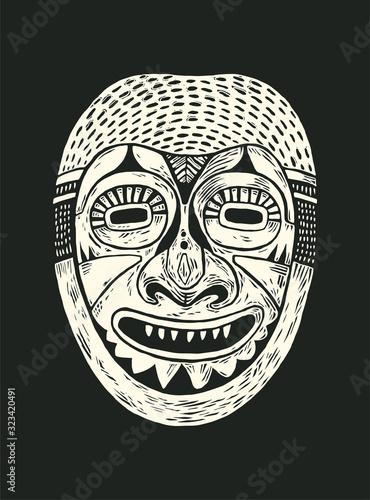 Tribal Mask Design Wallpaper Mural