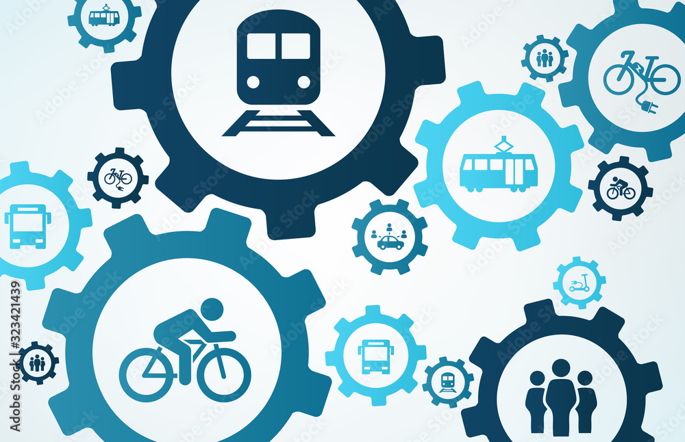 Fototapeta new mobility vector illustration. Concept with connected icons related to modern individual transport alternatives, alternative urban transportation or emission reduction..