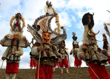 Elin Pelin, Bulgaria - February 15, 2020: Masquerade Festival In Elin Pelin, Bulgaria. People With Mask Called Kukeri Dance And Perform To Scare The Evil Spirits.