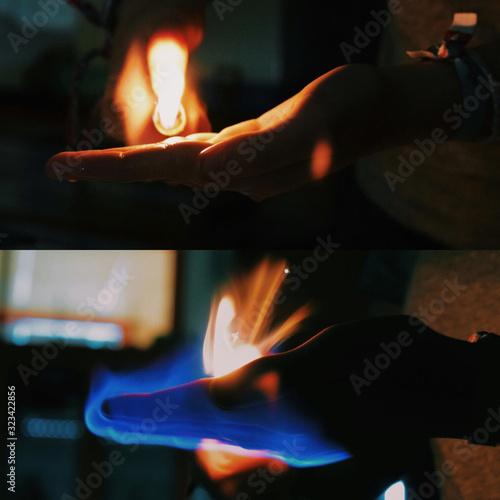 Fuego sobre la mano Canvas Print